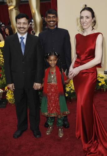 Dr. Subodh Singh, Pinky and director & producer Megan Mylan of the documentary film 'Smile Pinki' arrive for the 81st Academy Awards